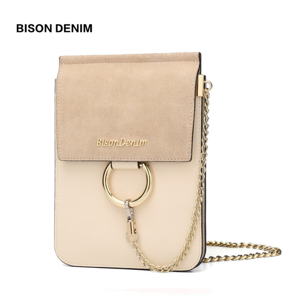 BISON DENIM Brand Leather Bags Round Accessory Vintage Women Shoulder Bags Crossbody Bags For Women Mini Messenger Bag N9333
