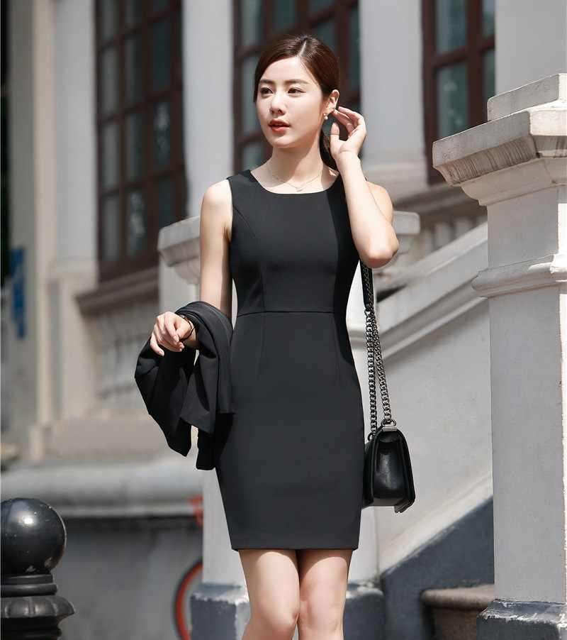 4f3359cf596 Вечерние летние Для женщин работы платья короткий рукав женские офисные  платье женский черный