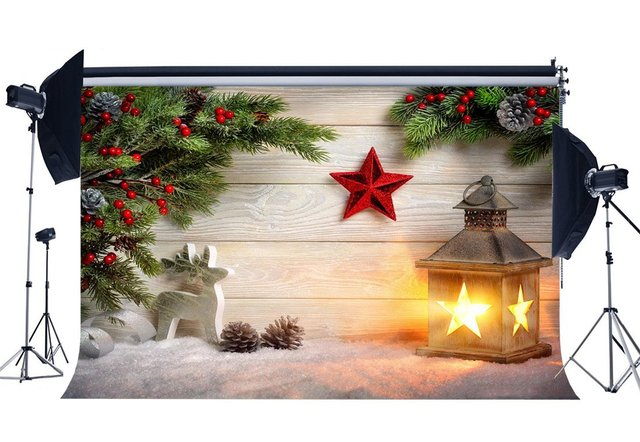 Photography Backdrop Xmas Merry Christmas Lantern Red Star Snow Weathered Wood Floor Backdrops Happy New Year Background