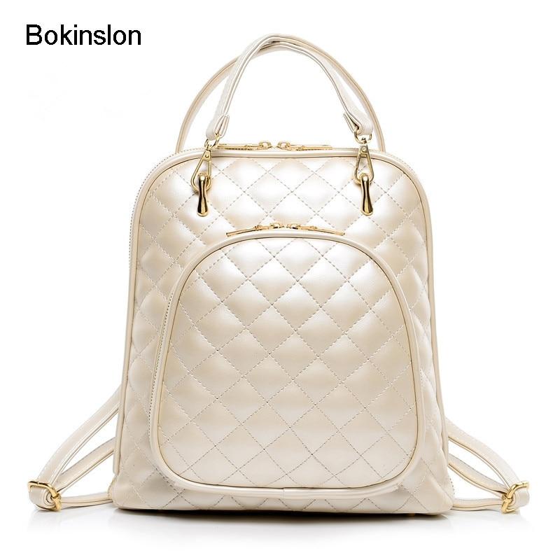 Bokinslon haute qualité femmes sac à dos Pu cuir mode sacs à dos pour adolescentes pastille treillis décontracté voyage sac d'école