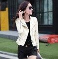 2016 primavera chaqueta de cuero de las mujeres delgadas Más tamaño 3XL de la mujer capa de la ropa de cuero ropa de cuero del diseño del cortocircuito capa de la señora