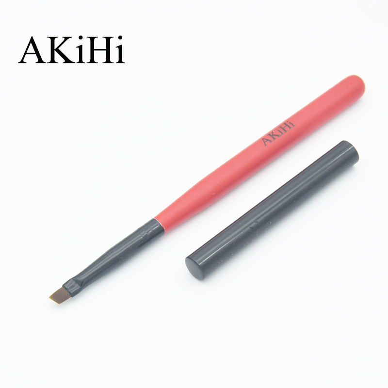 AKiHi Diagonal Flat Brushes Nail UV Gel Arts Manicure Pen With Metal Cap 3D Design