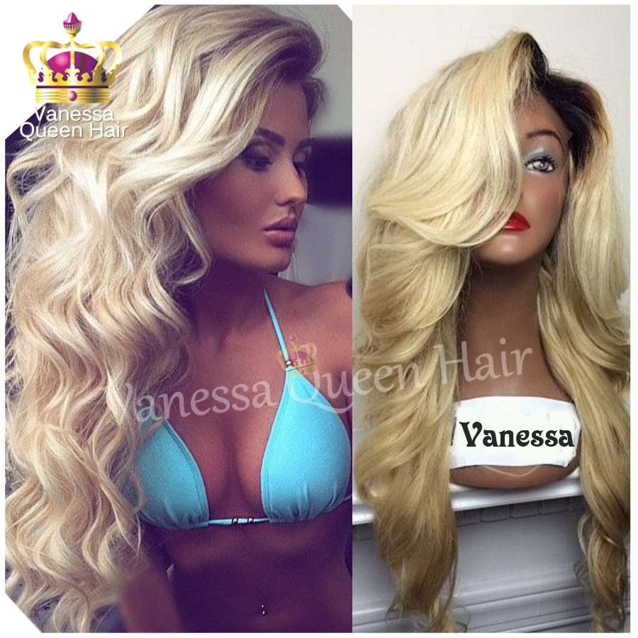 Top Quality Two Tones Synthetic Lace Front Wig Black Blonde Ombre Hand Tied  Wavy Wigs Dark Roots Heat Resistant Fiber Hair 6fae7765ad