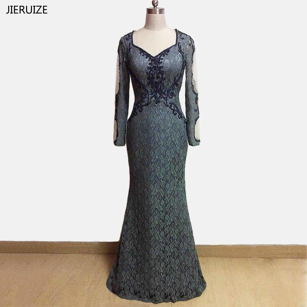 jiruize grau spitze perlen langen Ärmeln meerjungfrau abendkleider  v-ausschnitt formale kleider mutter der braut kleider