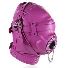Bondage Slave PU Leather Mask Hood Headgear Restraints Belt Fetish Adult Games Sex Products Couples Toys For Women Men Gay hgp