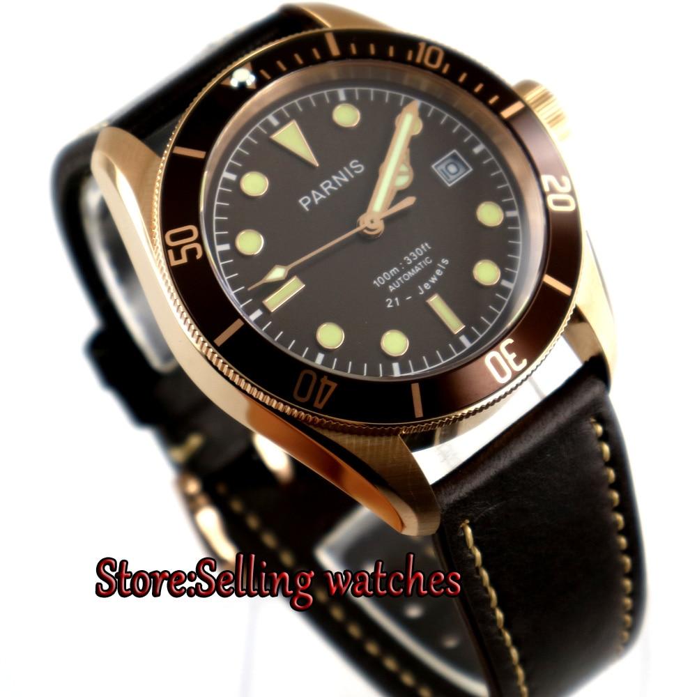лучшая цена new Parnis 41mm coffee dial super luminous date Rose gold case miyota 8215 Automatic mens Watch