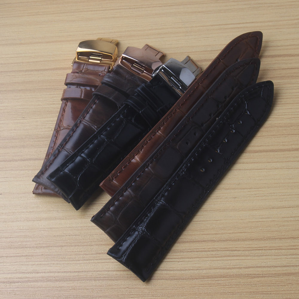 Genuine Leather Watchband strap mink leather With Butterfly Clasp Bands Croco Grain Bracelet black brown soft new 18mm 20mm 22mmGenuine Leather Watchband strap mink leather With Butterfly Clasp Bands Croco Grain Bracelet black brown soft new 18mm 20mm 22mm