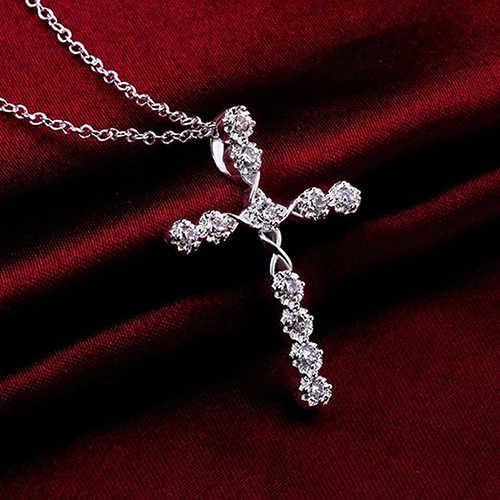 Women 925 Latin Cross Charm Zircon Pendant Necklace Chain Jewelry with Clear Zircon Elements Lucky Female Necklaces