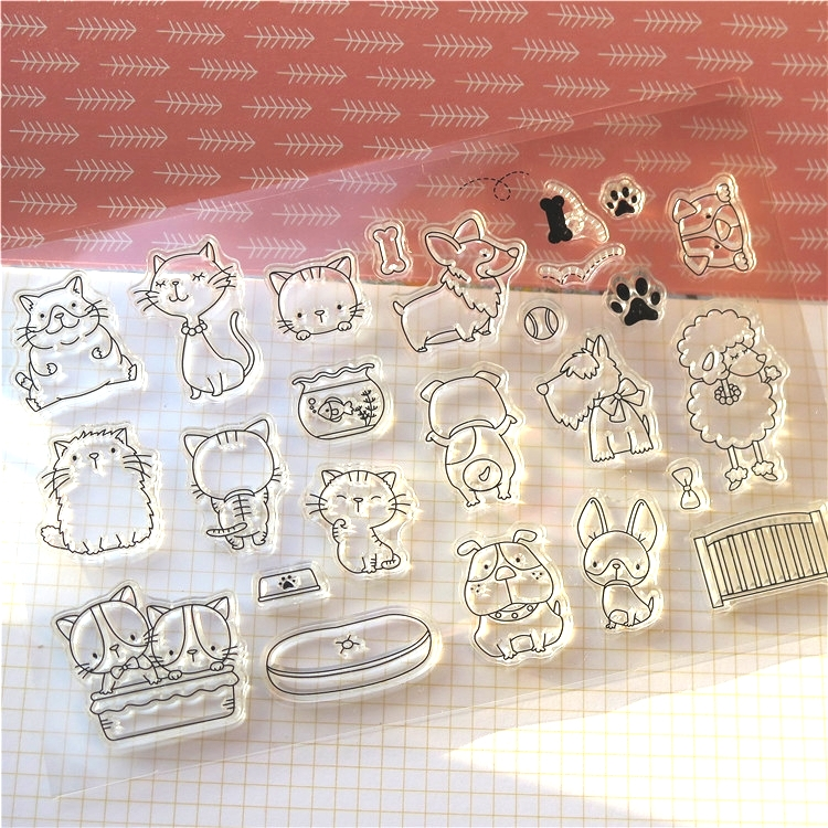 ZLDECOR Cats And Dogs Transparent Clear Silicone Stamp/Seal for DIY scrapbooking/photo album Decorative clear stamp sheets  цены