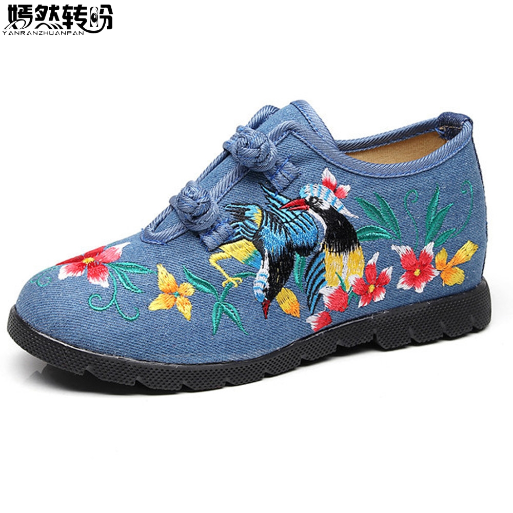 2018 New Vintage Women Flats Canvas Bird Floral Embroidery Casual Cotton Cloth Platforms Shoes Woman Sapato Feminino vintage flats shoes women casual cotton peacock embroidered cloth flat ankle buckles ladies canvas platforms zapatos mujer