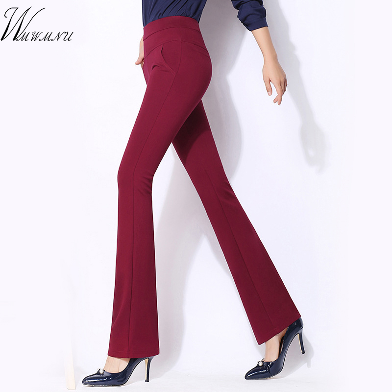 women's casual office big size   pants   2018 New arrival sexy slim high waisted work   wide     leg     pants   Formal elastic Office Trousers