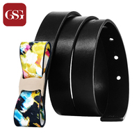 GSG Newly Designed Fashion Skinny Leather Belt With Bowknot Decoration For Lady