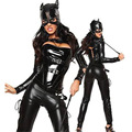Adult Costume Fashion Cat Women Leather Jumpsuit Night Prowler Sexy Cosplay Catwoman Catsuit Black Cat Halloween Costume