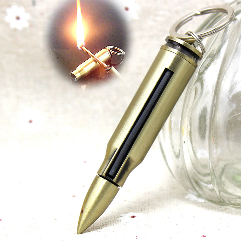 Refillable Bullet Shaped Permanent Match Lighter and Fire Starter Suitable for Camping