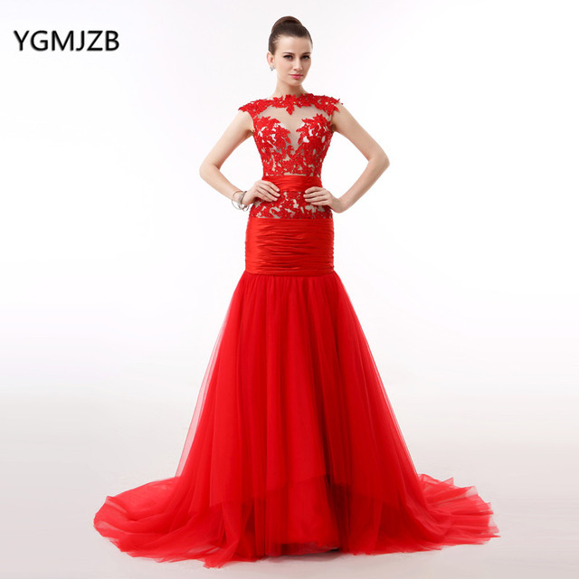 57d1bbbff2d5 Elegant Red Long Evening Dress 2018 Mermaid Sheer Top Lace Cap Sleeves  Floor Length Women Formal Prom Party Dress Pageant Gown