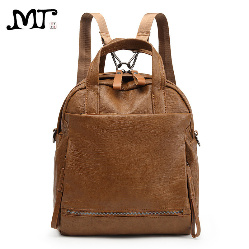 MJ Backpack Female Leather Daypack Women's PU Leather Backpack for Teenager Girls Casual Travel Bag Shoulder Bag Large Capacity mma backpack box ing shoulder ufc memory gifts daypack for friends
