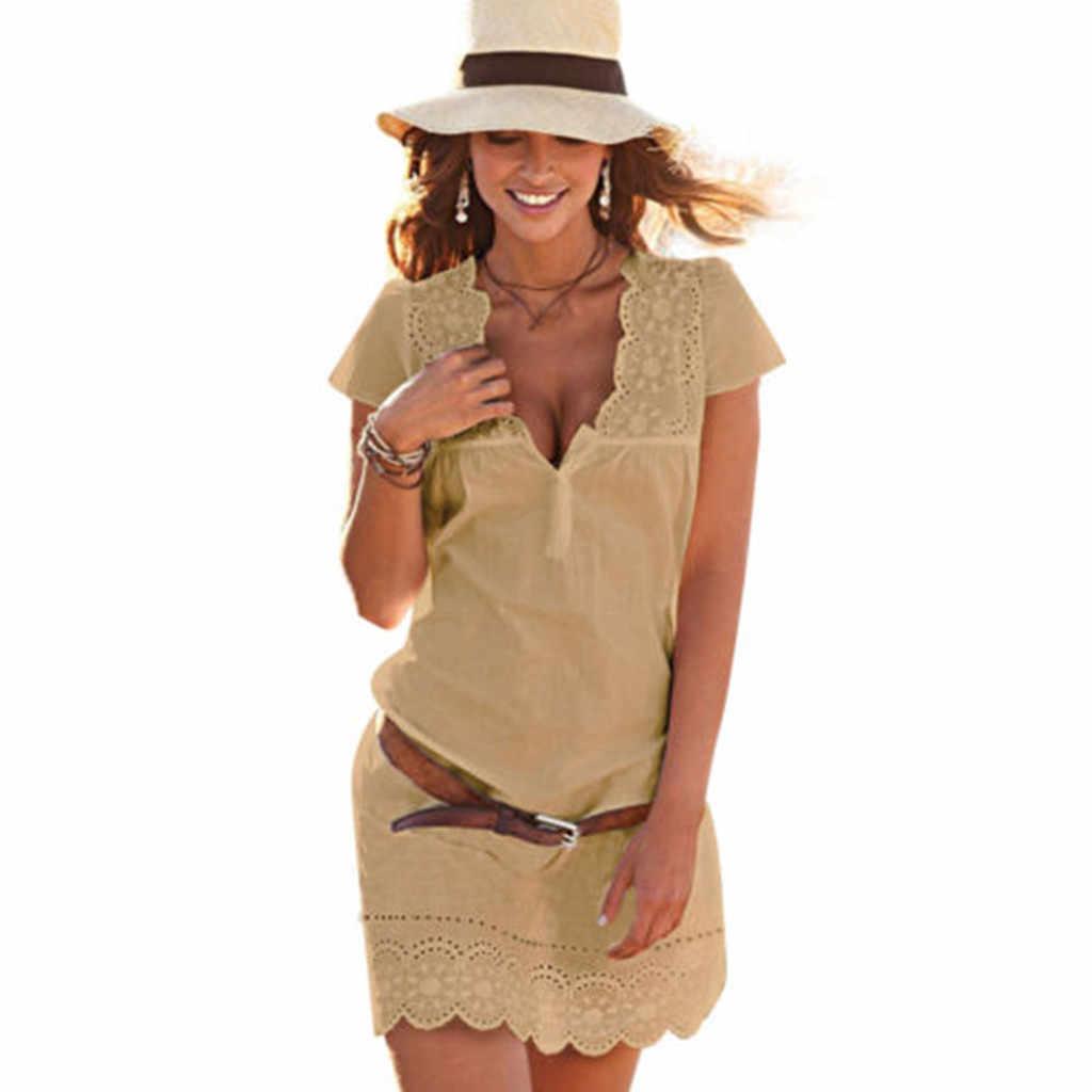 夏の女性のセクシーな V ネックレースドレス半袖自由奔放に生きるビーチミニドレスビーチスリムサンドレス vestidos デ verano にドロップシッピング