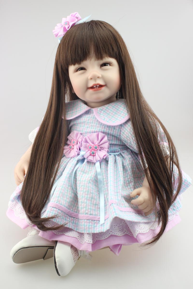 52 cm Silicone fait à la main vif Reborn bébé poupée jouet réaliste nouveau-né longhair beau costume princesse fille Brinquedos bonecas