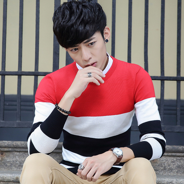 Fall Men's pullover male Slim thin cotton solid color men's v-neck long-sleeved sweater coat primer do205