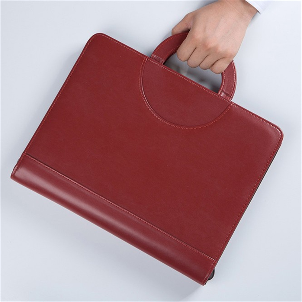 black brown business zipper PU leather portfolio a4 documents folder cases manager bag Tablet PC mobile padfolio binder cagie key holder a4 file zipper folder multifunction real estate company office manager folder business padfolio bag