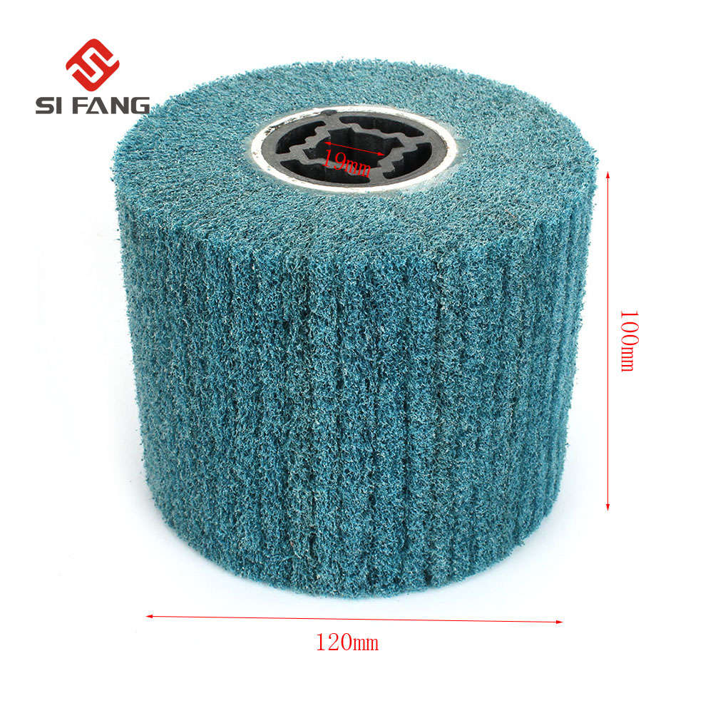 Grit 80/120 Non-Woven Wire Drawing Grinding Wheel Nylon Scouring Pad Polishing Wheel For  Rotary Abrasive Tool 120*100mm