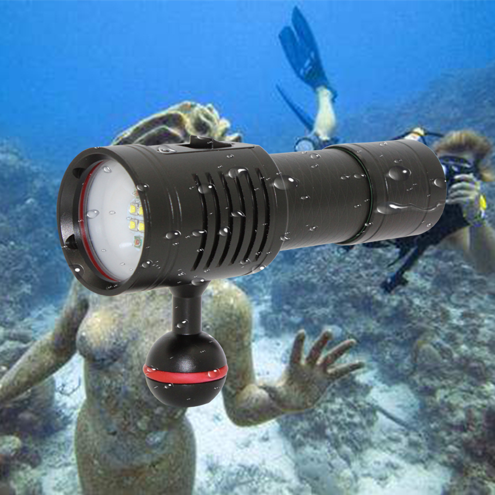 3000LM 4x XP-G2 White + 2x XPE Red LED Diving Flashs