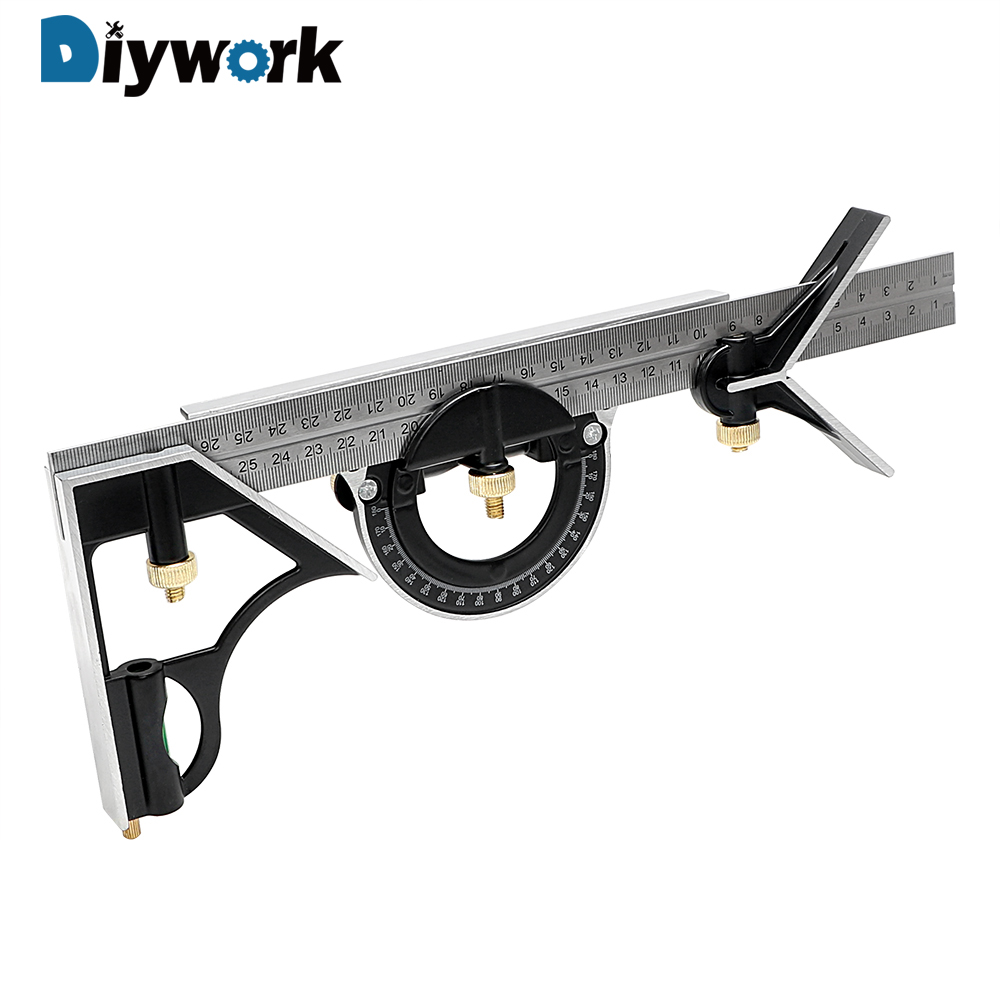 DIYWORK 3 in 1 Right Angle Ruler 300mm/12 Multi Combination Square Set Measuring Set Tools Angle Finder Protractor