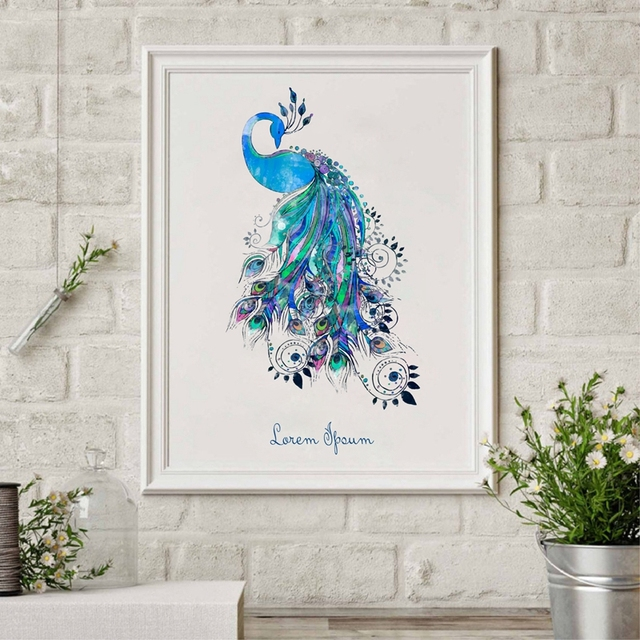 Colorful Peacock Print Poster Wall Pictures Home Decor Watercolor Canvas Art Painting Living Room Modern Decoration