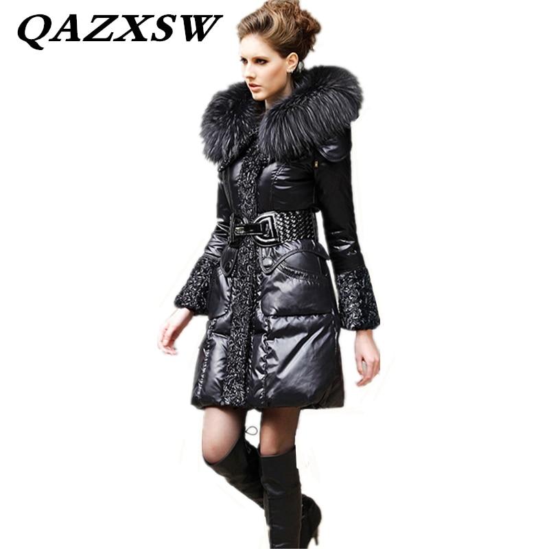 Veste Le Grande Hiver Épais Lf281 Col Bas Fourrure 2 Nouveaux Slim De Black black 1 Mode Manteau Chaud Tempérament Femmes Taille Solide 2018 Longues Vers qZw5OxEA