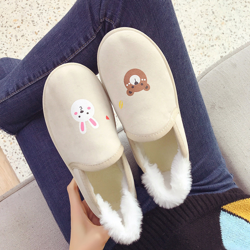 Sauvage Plus Nouvelle Coréenne L'hiver De glissement La Beige Non Étudiants 2019 Femmes Chaud Fourrure Version Bottes Chaussures Velours Coton Courtes nYSdqxRP