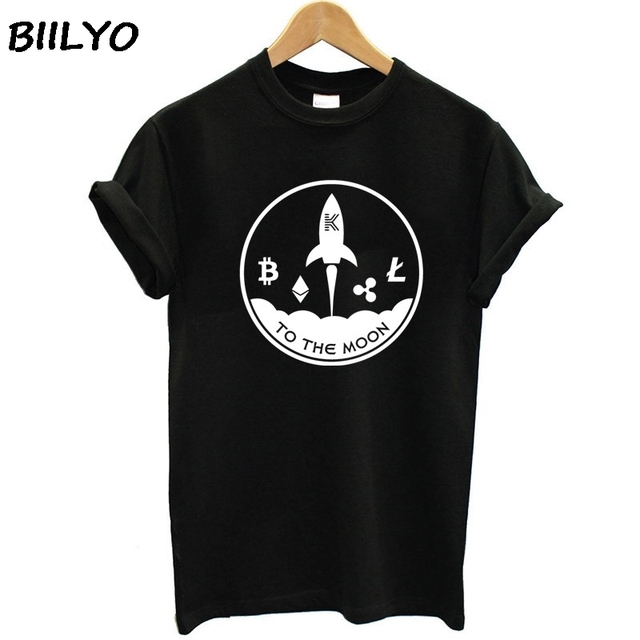 New Fashion t shirt Women to the moon litecoin cryptocurrency t-shirt for Women Sunlight Outfit tshirt plus size HipHop Top