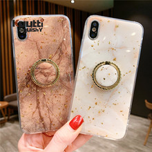 Kuutti Squishy Luxury Yellow Gold Foil Marble Soft Silicone Finger Ring Phone Cases for iPhone 6 6s 7 8 Plus X XR XS Max Covers