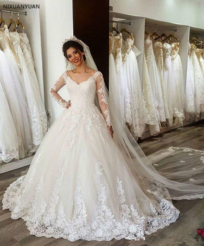 Cheap Vestido de Noiva Custom Made Long Sleeves Ball Gown Wedding Dress 2020 Lace Up Back Robe de mariee Vestido De Casamento