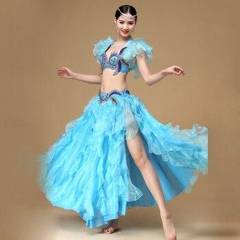 ee721d966 2018 traje de danza del vientre Set sujetador Top cinturón falda vestido  Rio carnaval Bollywood 2 p