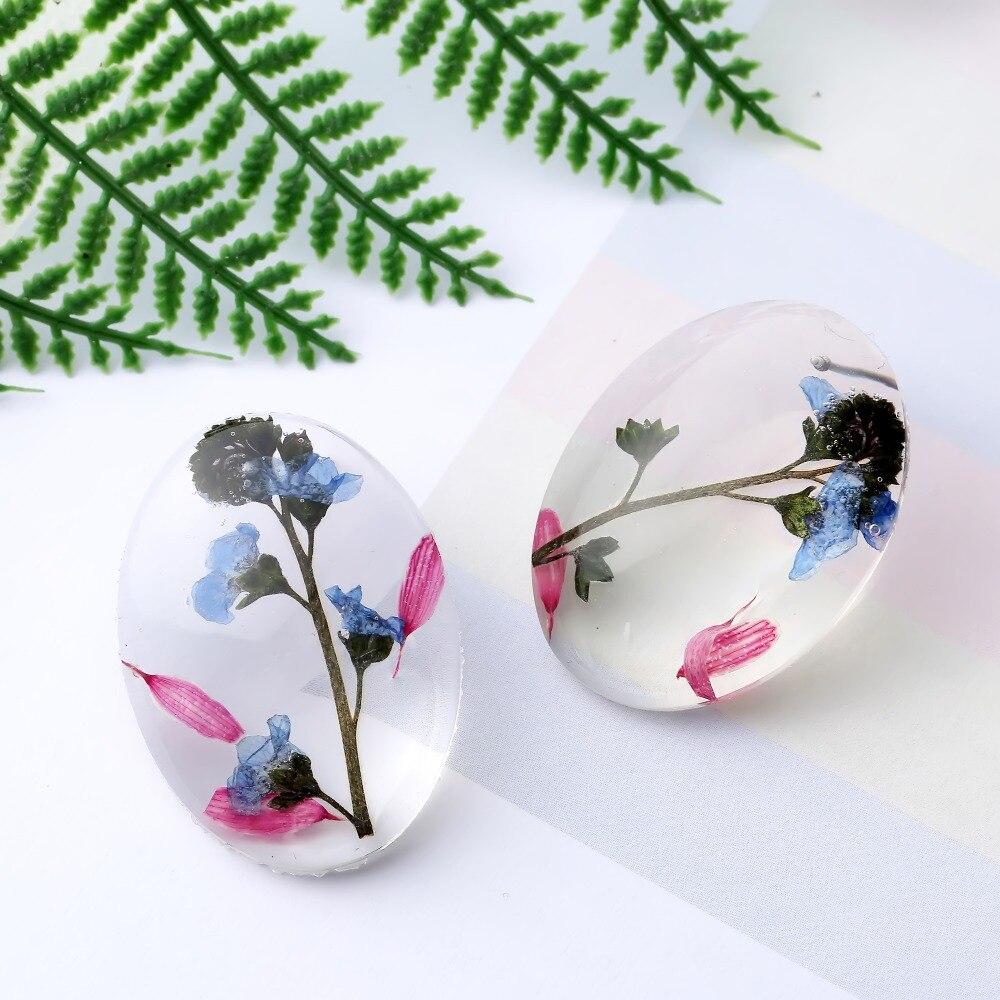 Corée séché fleur verre Transparent boucles doreilles pour femmes bohême mignon ovale boucle doreille résine bijoux boucle doreille femme 2020