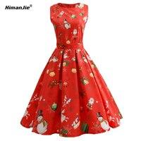 Himanjie Halloween Christmas Tree Print Vintage Party Red Dress Plus Size Swing Rockabilly Robe Female Vestidos