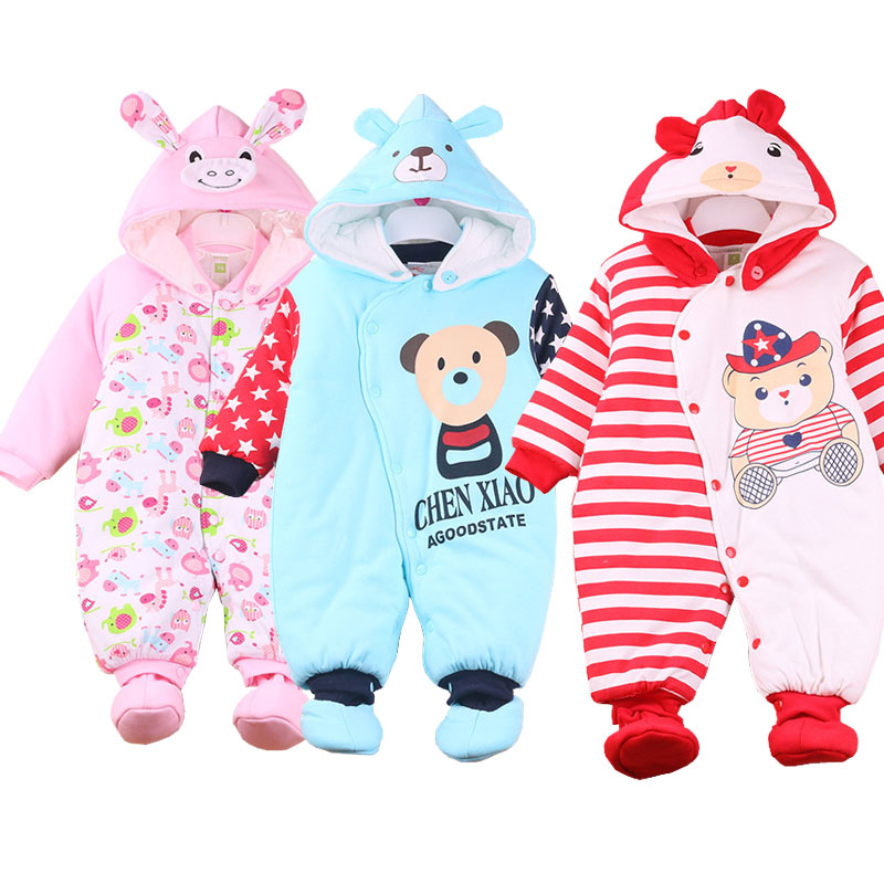 ФОТО Newborn girls/ boys Winter clothing Infant Baby Clothes Animal Style Clothing Romper Baby Clothe Cotton-padded warm Overalls