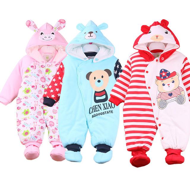 Recém-nascidos meninas/meninos roupas de Inverno Infantil Roupas de Bebê Estilo Animais Roupas Romper Do Bebê Vestir Algodão-acolchoado Macacão quentes