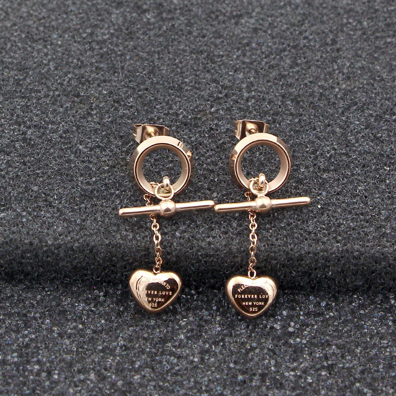 YUN RUO 2018 Forever Love Heart Stud Earring Woman Rose Gold Color Titanium Steel Jewelr ...