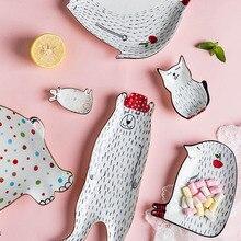 Креативная керамическая тарелка с героями мультфильмов, тарелка для десерта, хлеба, фруктов, закусок, тарелка с милым животным, Детская тарелка, INS, украшение дома, 1 шт