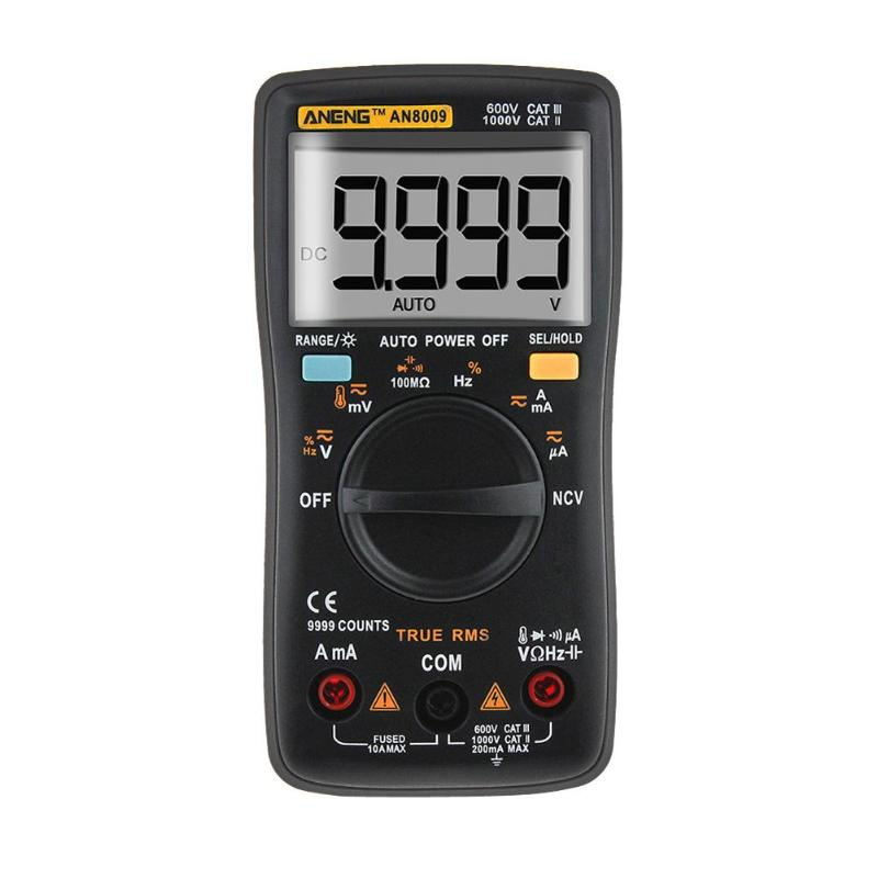 AN8009 Digital Multimeter LCD Display Automatic Range Backlight Ammeter Voltmeter Inductance Meter Transistor Current Tester dy294 lcd display digital transistor dc parameter tester semiconductor tester semiconductor testers meter 1pcs