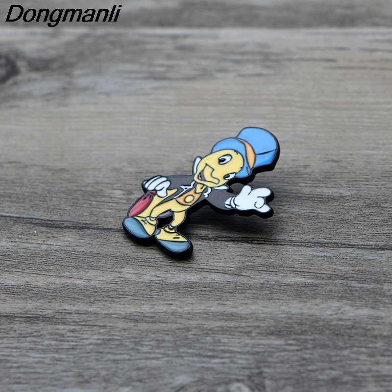 L2725 Jiminy Cricket di arte del Metallo Dello Smalto Spille e Spille Zaino/Borse Distintivo Denim Del Collare Spilla Gioielli Regali 1pcs
