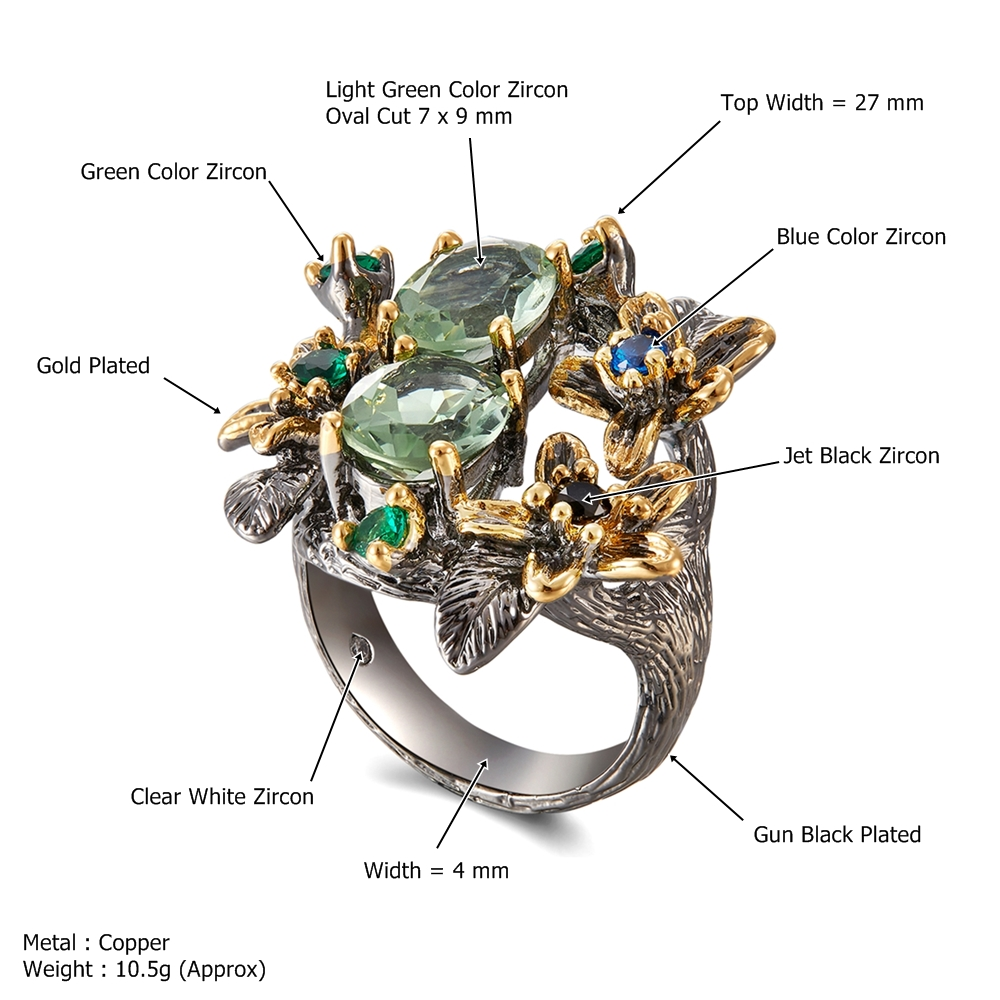 DreamCarnival 1989 Stunning CZ Rings for Women Engagement Party Vintage Flower Ring Eye Catching Olivine Zircon Jewelry WA11688 6