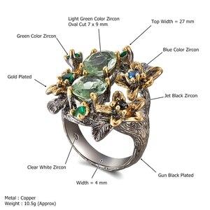 Image 5 - Dreamcarnival Hot Selling Prachtige Cz Ring Voor Vrouwen Engagement Party Vintage Bloem Opvallende Olivijn Zirkoon Sieraden WA11688
