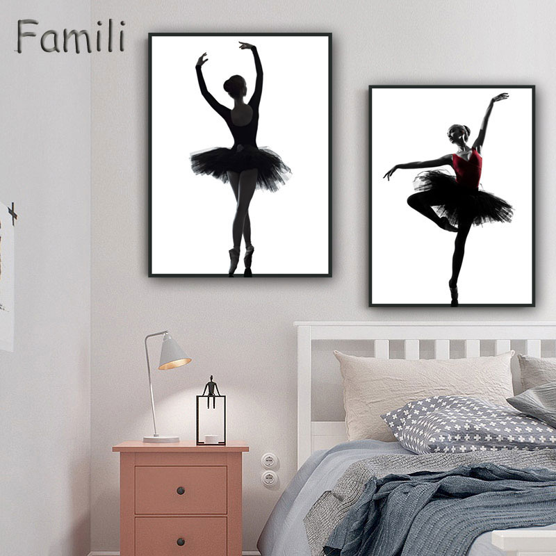 Black White Ballet Dancer Silhouette Beauty Girl Photo Art Print Poster Wall Picture Canvas Painting Ballerina Home Decor