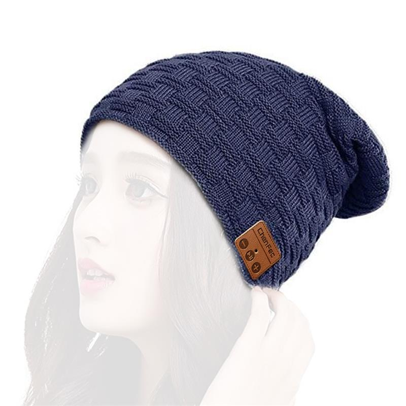 Washable Winter Men Women Hat Bluetooth Beanie with Wireless Stereo Headphones Mic Hands Free Rechargeable for Mobile Phones