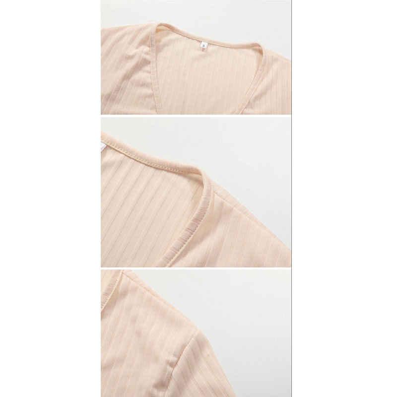 2018 Sexy Delle Signore Delle Donne di Estate Slim Crop Magliette e camicette A Maniche Lunghe T Shirt Casual Solido Con Scollo A V Lavorato A Maglia Breve Magliette e camicette