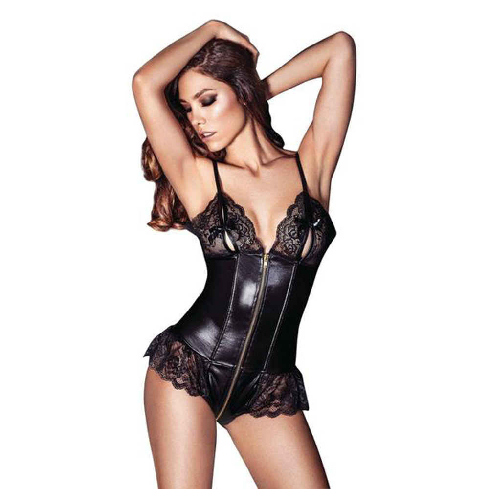 Dower Me 2017 New Hot Sexy Cupless M 2XL Vinyl Leather Lingerie Lace Zipper Bodysuit Teddy