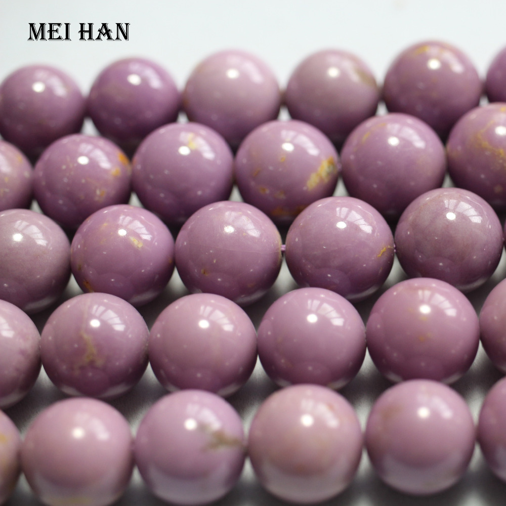Wholesale natural 11.5 12.5mm Morocco phosphosiderite purple smooth round loose beads stone for gift  jewelry making bracelet-in Beads from Jewelry & Accessories