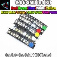 smd 1206 led 5 Colors x 50pcs = 250pcs 1206 3216 SMD SMT (White Red Green Blue Green) SMD LED 1206 LED Light Emitting Diode LED Diode Kit (1)
